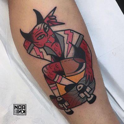 Tattoo by Ian Giuntoli #IanGiuntoli #satanictattoo #satan #devil #hell #hades #demon #evil #darkart #skateboard #skating #rockon #horns #lightning #bolt #skate #skateordie