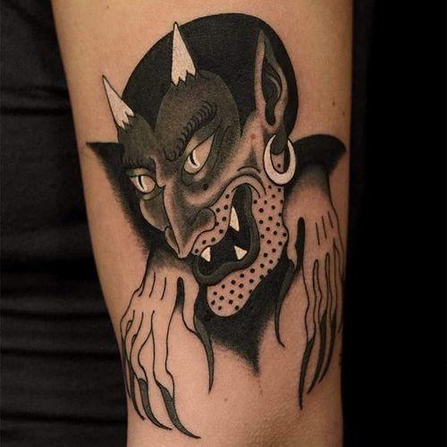 Tattoo by Marcelina Urbanska #MarcelinaUrbanska #satanictattoo #satan #devil #hell #hades #demon #evil #darkart #blackandgrey #portrait #dots