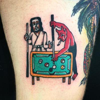 Tattoo by Wan Tattooer #WanTattooer #satanictattoo #satan #devil #hell #hades #demon #evil #darkart #pooltable #pool #jesus #religious #friends #funny