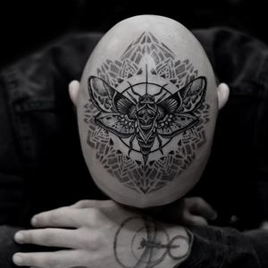 Tattoo by Otheser #Otheser #deathmothtattoos #darksidetattoosociety #skull #moth #insect #animal #sacredgeometry #pattern #mandala #wings #linework
