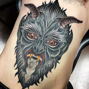 Tattoo by Fabingg #Fabingg #satanictattoo #satan #devil #hell #hades #demon #evil #darkart #horns #stomachpiece #torsotattoo