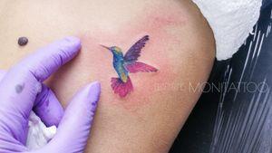 Mini hummingbird. A freehand tattoo.