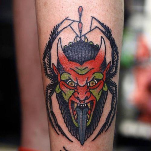 Tattoo by Mick Gore #MickGore #satanictattoo #satan #devil #hell #hades #demon #evil #darkart #color #traditional #spider #horns #spiderweb #web