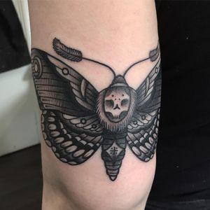 Tattoo by Luke A Ashley #LukeAAshley #deathmothtattoos #blackandgrey #skull #moth #traditional #darkart #death #insect #animal