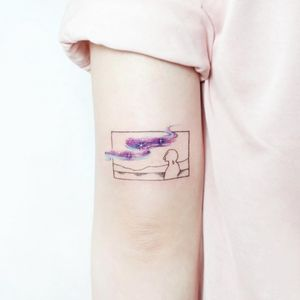 Tattoo by Ida #Ida #TattooistIda #landscapetattoos #linework #fineline #outline #silhouette #lady #mountains #river #stars #galaxy #cosmos #dreamy #surreal