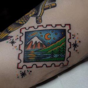 Tattoo by Dasha Terekhova #DashaTerekhova #landscapetattoos #stamp #landscape #mountains #forest #trees #moon #stars #river #lake #nightsky #sky
