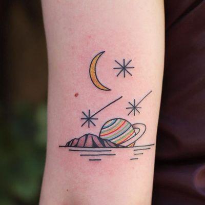 Tattoo by Patryk Hilton #PatrykHilton #landscapetattoos #linework #minimal #small #mountains #saturn #stars #shootingstar #moon #color
