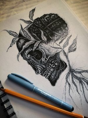 My work, I haven't got tattoo and I'm also not tattoo artist, but I like drawing tattoo style sketches. :) #tattoo #sketchtattoo #skulltattoo #skull #dotworktattoo #dotwork #inspiration #handcrafted