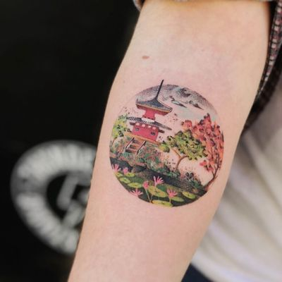 Tattoo by Ciotka_zu #ciotka_zu #landscapetattoos #color #watercolor #painting #lotus #flowers #floral #trees #pagoda #building #Chinese #lilypad