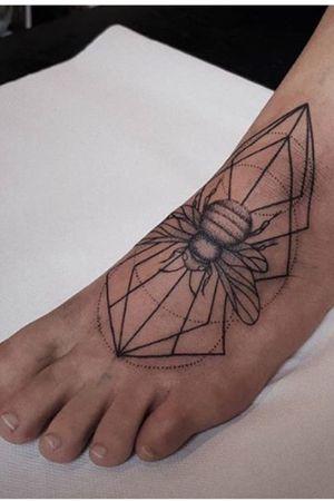 Foot tattoo - bumblebee