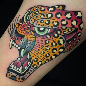Tattoo by Josh Bovender #joshbovender #junglecattattoos #junglecat #color #rainbow #leopard #cat #animal #psychedelic