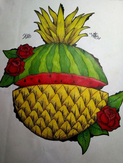 #watermelon #color #colors #colorful #colortattoo #rose #roses #nature #pineapple CAN DO THE TATTOO