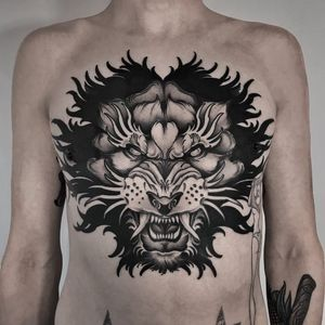 Tattoo by Andrew Davydov #AndrewDavydov #junglecattattoos #blackandgrey #lion #fierce #junglecat #cat #chesttattoo