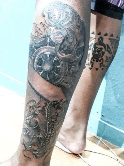 #tattooart #Black #blackandgrey #blackandgreytattoo #skull #skulls #mar #marinha #pirata #pirate #caveira #caveiras