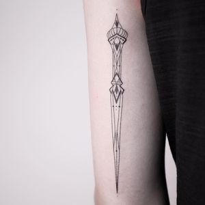 Tattoo by Melina Wendlandt #MelinaWendlandt #daggertattoos #linework #fineline #illustrative #abstract #pattern #geometric #artdeco #sword #knife #dagger