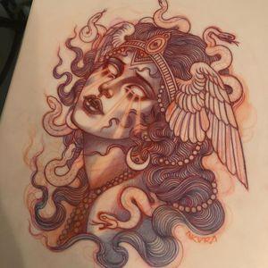 Illustration by Lynn Akura #LynnAkura #illustration #tattooflash #wings #feathers #portrait #moon #vampire #snake #pearls
