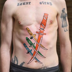 Tattoo by Patryk Hilton #patrykhilton #daggertattoos #color #surreal #dagger #knife #knives #sword #stomachtattoo