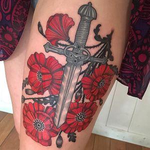 Tattoo by Lynn Akura #LynnAkura #color #neotraditional #poppy #flowers #floral #dagger #sword #metalwork #silver #filigree #thorns #nature #leaves