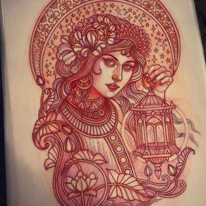 Illustration by Lynn Akura #LynnAkura #illustration #tattooflash #portrait #lantern #lady #ladyhead #light #flowers #lotus #lilypad #leaves #nature #stars
