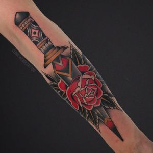 Tattoo by Cedric Weber #CedricWeber #daggertattoos #color #traditional #neotraditional #rose #flower #floral #dagger #knife #pattern
