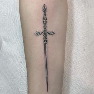 Tattoo by Brian Henry #BrianHenry #bhens #daggertattoos #blackandgrey #whiteink #sword #detailed #small #filigree #dagger #knife