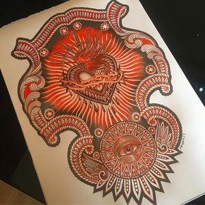 Illustration by Lynn Akura #LynnAkura #illustration #tattooflash #thirdeye #allseeingeye #pattern #filigree #sacredheart #swords #blood #fire #heart #light #detailed