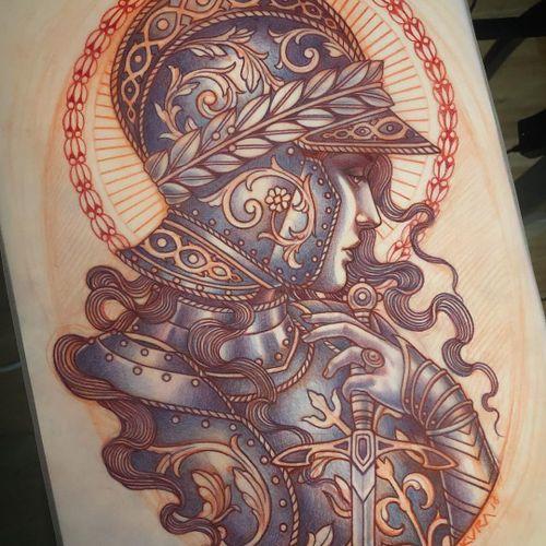 Illustration by Lynn Akura #LynnAkura #illustration #tattooflash #portrait #sword #medieval #armour #floral #pattern