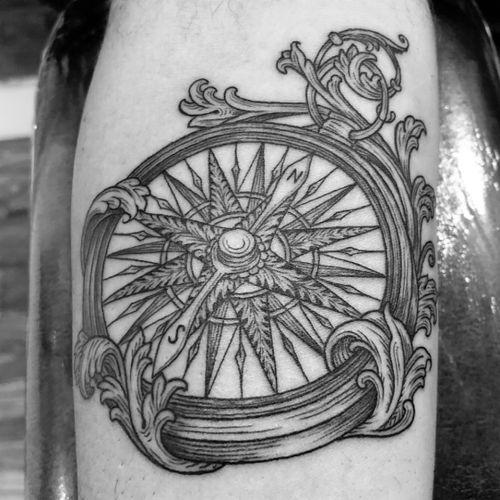 Compass on forearm #blackandgrey #blackwork #linework #compass #compasstattoo