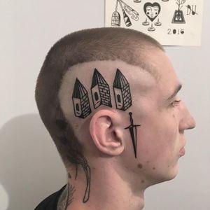 Tattoo by Dima Melancholiac #dimamelancholiac #daggertattoos #dagger #blackwork #illustrative #house #building #facetattoo #knife #sword