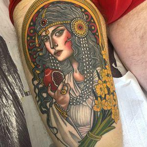 Tattoo by Lynn Akura #LynnAkura #color #neotraditional #daffodil #flowers #floral #pomegranate #lady #portrait #pearls #jewelry #ornamental #pattern