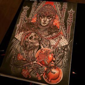 Illustration by Lynn Akura #LynnAkura #illustration #tattooflash #portrait #lady #pomegranate #skull #death #dagger #throne #stainedglass #filigree #pearls #roses #floral #flowers #nature