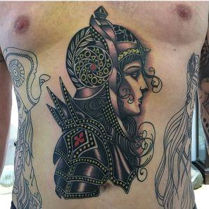 Tattoo by Lynn Akura #LynnAkura #color #neotraditional #portrait #soldier #armour #lady #ladyhead #pattern #metalwork #medieval #warrior