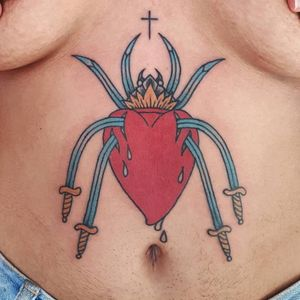 Tattoo by Bouits #Bouits #besttattoos #color #traditional #sacredheart #heart #fire #spider #swords #blood #tears