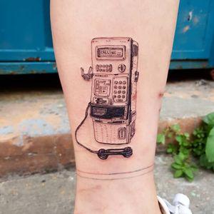 Tattoo by 92 Noise #92Noise #NoiseTattoo #besttattoos #linework #illustrative #drawing #phone #payphone