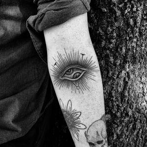 Tattoo by Sasha Woland #SashaWoland #besttattoos #illustrative #linework #eye #eyeball #thirdeye #allseeingeye #symbol #dotwork