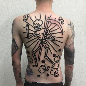 Tattoo by Ego Sum Lux Mundi #EgoSumLuxMundi #besttattoos #blackwork #linework #blackfill #skeleton #death #skull #font #numbers #scythe #stars #backpiece #backtattoo