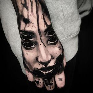 Tattoo by Ben Thomas #benthomas #darkarttattoos #blackandgrey #portrait #demon #lady #ladyhead #eyes #devil #ghoul #ghost #splatters #blood #evil #death