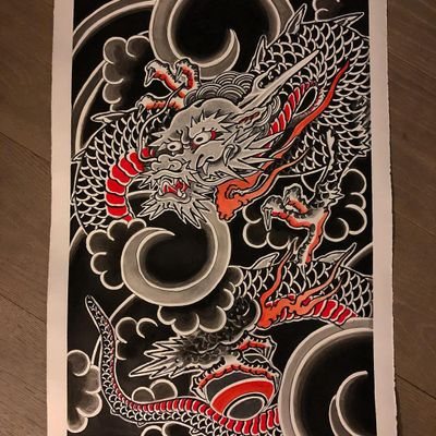 Flash by Lupo Horiokami #LupoHoriokami #Irezumi #Japanese #illustration #dragon #clouds