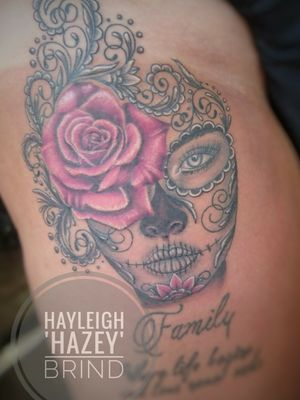 Day of the dead girl. #dayofthedeadtattoo #rosetattoo