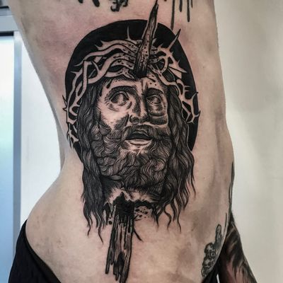 Tattoo by Matina Marinou #MatinaMarinou #darkarttattoos #blackwork #linework #illustrative #etching #Jesus #severedhead #head #thorns #blood #splatters #death