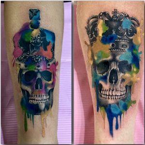 Couples skulls with color splash