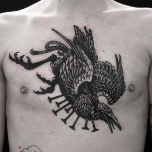 Tattoo by Mishla #Mishla #mishlatattooillustration #darkarttattoos #blackwork #raven #bird #crow #wings #feathers #nails #death #animal