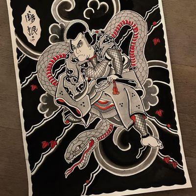 Flash by Lupo Horiokami #LupoHoriokami #Irezumi #Japanese #illustration #warrior #snake #clouds #leaves