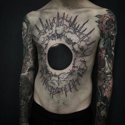 Tattoo by Pari Corbitt #PariCorbitt #darkarttattoos #blackwork #clouds #lightning #light #blackhole #darkness #evil #linework #blackfill #chesttattoo #blackholesun
