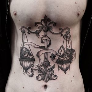 Tattoo by Odd #Odd #Oddtattoo #darkarttattoos #linework #etching #illustrative #severedhead #filigree #banner #scale #medieval #ghoul #demon #monster