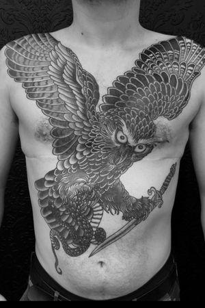 Marks owl finished azieltattoo@gmail.com www.thetattooedheart.co.nz #aaronaziel #aaronazieltattoo #thetattooedheart #tattoo #occulttattoo #occult #darkart #darkness #blacklines #linetattoo #darkartists #occult #owl #dagger #snake #chestpiece