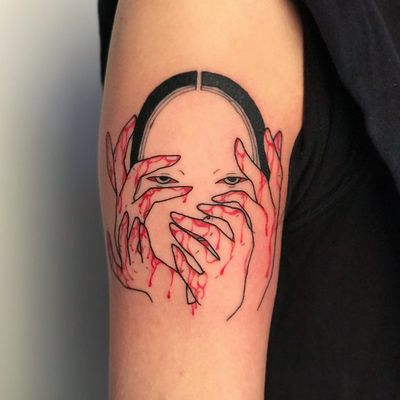 Tattoo by Suzani #Suzani #darkarttattoos #linework #illustrative #noh #nohmask #blood #hands #splatters #death #evil #demon #yokai
