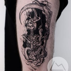 Tattoo by Landon Morgan #LandonMorgan #darkarttattoos #linework #etching #illustrative #skeleton #monster #antlers #octopus #death #skull #strange #surreal #scythe