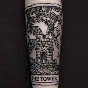 By Ilja Hummel #thetower #taro t#woodcuttattoo #blackwork #tower