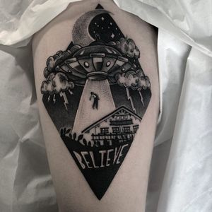 Tattoo by Heidi Furey #HeidiFurey #alientattoos #blackandgrey #illustrative #ufo #alien #spaceship #lightning #clouds #house #believe #text #desert #cacti #moon #stars #space #scifi #abduction